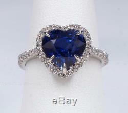 Sapphire Diamond Platinum & 18K Gold Ring GIA Certified Heart Shape New Ring