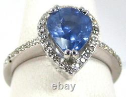 Sapphire Ring 14K white gold Filigree Pave Halo Certified GIA Appraised $4,494