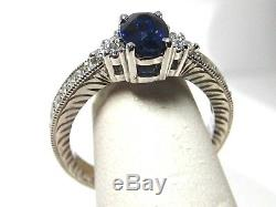 Sapphire Ring 18K white gold Heirloom Antique Style Certified Blue Heirloom $3,9