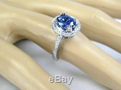 Sapphire Ring Antique 14K white gold Kashmir Blue Certified Natural App. $5,740