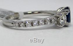 Sapphire Ring Pave 3 Stone 18K White Gold Blue Certified Natural Heirloom $7,356