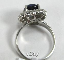 Sapphire Ring Royal Blue 18K white gold Halo GIA Certified Heirloom $24,337