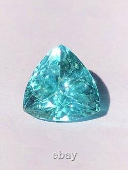 Stunning! 3.39 Carat Gia Certified Neon Poolwater Blue Paraiba Tourmaline