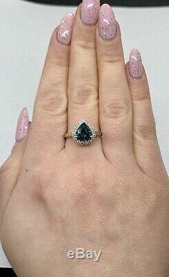 Stunning 3 Ct IF Blue Sapphire & Diamond Halo 14k White Gold Ring Certified