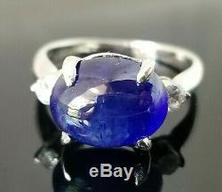 Stunning 5.26TCW Certified Blue Cabochon Sapphire Diamond Platinum ring 7.5