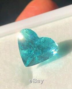 Stunning! 6.90 Carat Gia Certified Neon Poolwater Blue Paraiba Tourmaline