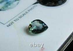 Superb Certified Unheated 1.32ct Pear Cut Yellowish Greenish Blue Sapphire