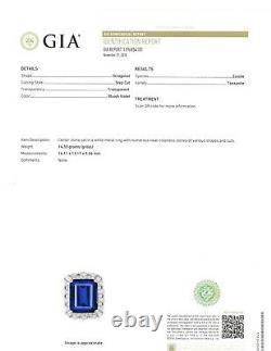 TANZANITE (17.29 CT) & DIAMONDS 18K WHITE GOLD RING GIA Certified