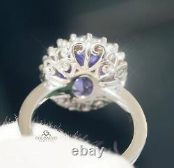 Tanzanite Ring Gold Diamond 14K GIA Certified NO HEAT 6.43CTW RETAIL $14,700