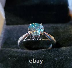 US SELLER 1.2 Carat Certified Deep Blue Diamond Solitaire in. 925 Silver with Ac