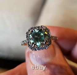 US SELLER 1.8-Ct. Certified Light Blue Diamond Ring Framed With Flashing Accents