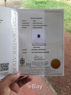 Unhetated Certified Natural Ceylon Royal Blue Sapphire 4.18 CTS Srilanka Gem