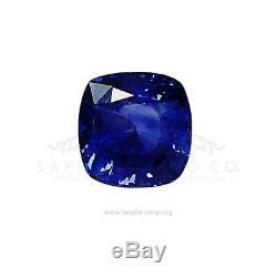 Untreated GIA Certified 3.68 ct Royal-Vivid Blue Cushion Cut Ceylon Sapphire