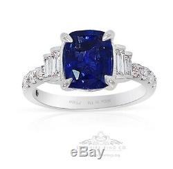 Untreated Platinum Blue Sapphire Ring, 2.85 tcw Cushion Cut Ceylon GIA Certified