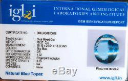 VVS Natural Swiss Blue Topaz AAA Grade 79.37 Cts IGLI Certified Huge Jewel