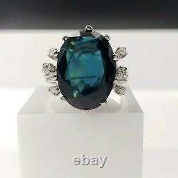 Vintage 7.91ct Natural Blue Sapphire Ring, 18kt Gold, GIA Certified, No Treatment