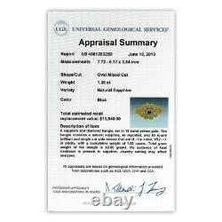 Vintage Certified NO HEAT Sapphire & Diamond Bangle 18K Gold 2.35ctw