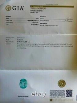 Wow! 12.21 Carat Gia Certified Perfect Aaa+ Neon Blue Loose Paraiba Tourmaline
